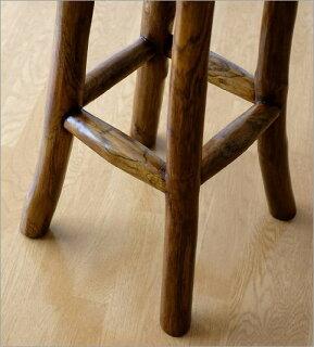 【送料無料】木製スツールハイスツールカウンタースツールバースツールカウンターチェアー天然木イス椅子いすウッドアジアン家具バリ家具シンプルモダン無垢材キッチンスツール高さ75cmチーク原木スツールL
