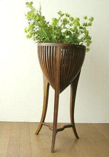 チークフラワースタンドM(アジアン家具花台チーク材木製フラワーポット)