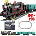ブロック 知育 互換 SL 機関車 鉄道 電車シリーズ 汽車ブラック コンテナ レール付き はしる電車 はたらくくるま テクニック