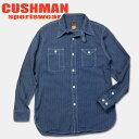 ショッピング春夏 Cushman(クッシュマン) インディゴストライプワークシャツ 【25261】ネイビー