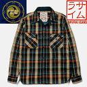 SAMURAI JEANS(サムライジーンズ)ロープインディゴヘビーネルシャツ【SIN16-01】インディゴ×ベージュ