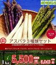 【送料無料】北海道 富良野産 アスパラ3種セット グリーンアスパラ ホワイトアスパラ