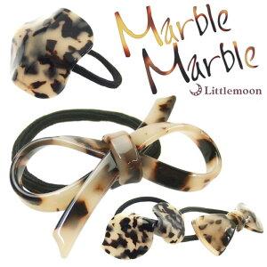べっ甲 リボン ヘアゴム コンチョ【Marble Marbleヘア