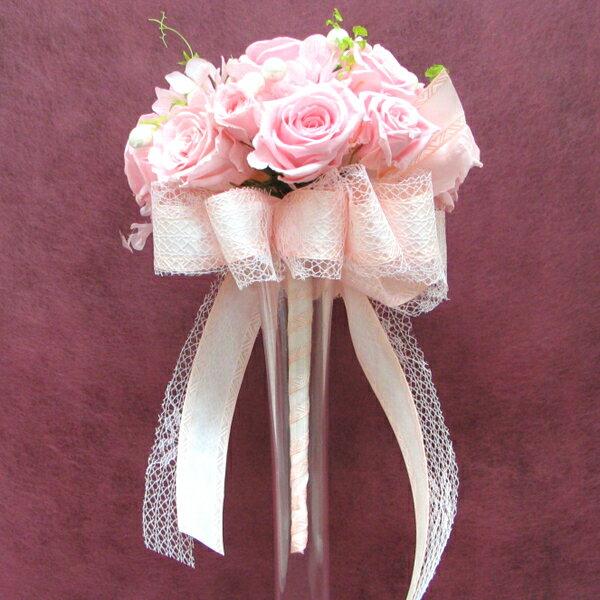 【只今プレゼント付き】 ラウンドブーケ オーダーメイド【Sweet Pink】直径約15cm  パール&リボンプリザーブド・ブーケ  ブライダルブーケ【_メッセ入力】【HLS_DU】【送料無料】 ナチュラルで清楚・・そして華やかに