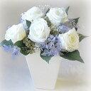 【基本形はバラ+小花+グリーン】お好きに変更♪オーダーメイドプリザーブドフラワーアレンジメント5000ホワイト