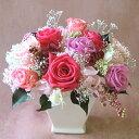 【基本形はバラ+小花+グリーン】お好きに変更♪お誕生日にお祝いに枯れないお花オーダーメイドプリザーブドフラワーアレンジメント10000ピンク玄関・リビングをゴージャスに☆