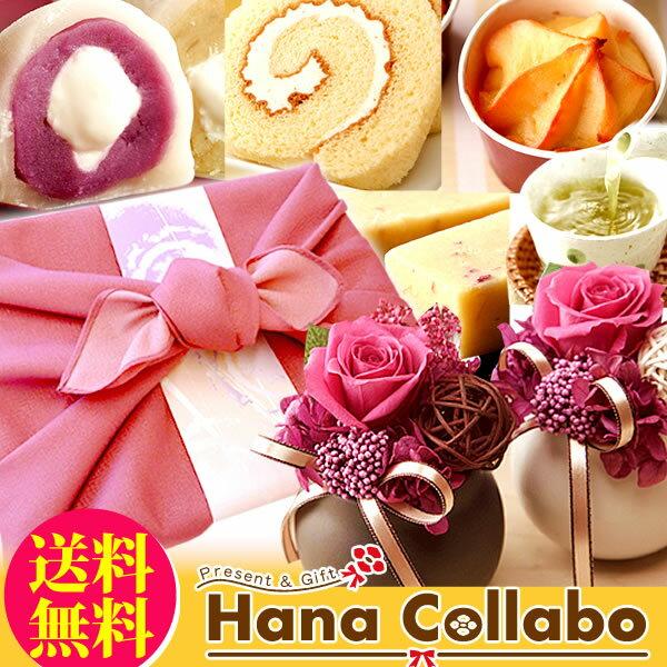 誕生日プレゼント女性プリザーブドフラワーギフト花とスイーツセットお祝いお菓子和菓子セット母贈り物お歳