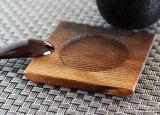 木制烧眼神正角受台9cm(蒸鸡蛋羹受碟子)[木製 焼目付き正角受台 9cm(茶碗蒸し受皿)]