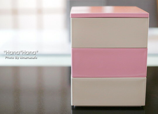 バイカラープチ3段重箱大92cmブロッサムピンク・オフホワイト漆器//和食器食器正月おせち一人用