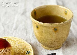 黄瀬戸貫入ドット 手のひら煎茶 大 8.4cm//美濃焼 和食器