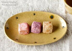 黄瀬戸貫入ドット 楕円小判皿 大 16.2cm//美濃焼 和食器