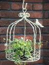 ガゼボ 鳥かご 小鳥 ガーデニング ガーデン雑貨 アンティーク アイアン 寄せ植え【花遊び】『アイアン♪バードガゼボ・アンティークホワイト』