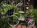 三輪車 ポット インテリア プランター アイアンガーデニング ガーデン 雑貨 アンティーク【花遊び】『ガーデンホワイト三輪車』【2月下旬のお届け予定です】
