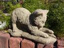 ねこ アニマル イングリッシュ 英国ガーデニング ガーデン 雑貨 ストーン製【花遊び】『Kitten With Leaf』