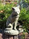 ガーデニング ガーデン いぬ 猫 イングリッシュ 英国 雑貨 ストーン製【花遊び】 『Licking Cat』