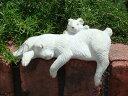 ガーデニング ガーデン ウサギ ラビット バードバス 置物 樹脂 アニマル 動物 雑貨 【花遊び】『親子ラビットスリーピング』