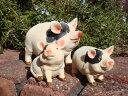 ガーデニング ガーデンブタ 豚 ぶた 置物 樹脂アニマル 動物 雑貨 【花遊び】『こぶたちゃんファミリー』【4月上旬のお届け予定です】