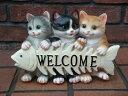 キャット 猫 ネコ CAT ねこちゃん ウエルカム置物 樹脂 アニマル 動物 雑貨 ガーデニング ガーデン【花遊び】『CAT ボーンウエルカム』