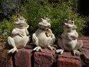 カエル かえる フロッグ 置物 樹脂 アニマル動物 雑貨 ガーデニング ガーデン【花遊び】『happy♪ホワイトフロッグ3!』【2月下旬のお届け予定です】