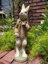 うさぎ ラビット オブジェ 置物 樹脂アニマル 動物 雑貨 ガーデニング ガーデン【花遊び】『ワンダーバスケットラビット』