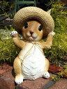 ガーデニング雑貨 ガーデン うさぎ ラビット置物 樹脂 アニマル 動物 雑貨『ストローハットウサギちゃん』