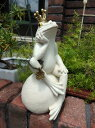 ガーデニング ガーデン オブジェ 置物 樹脂アニマル 動物 雑貨 【花遊び】『ホワイト♪クラウン シッティング カエル』【2月下旬のお届け予定です】
