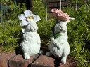ガーデニング雑貨 ガーデン ウサギ置物 樹脂 アニマル 動物 雑貨【花遊び】『フラワーラビット!STAND』