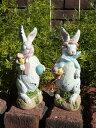 ガーデニング雑貨 ガーデン ウサギ置物 樹脂 アニマル 動物 雑貨【花遊び】『ホワイトラビット!リボン』