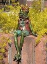 かえる フロッグ ウエルカム ストーンアニマル動物 雑貨 ガーデニング ガーデン【花遊び】『シッティング♪クラウンフロッグ』【3月上旬のお届け予定です】