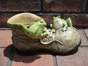 ガーデニング ガーデン 雑貨 カエル かえるフロッグ 置物 陶器 アニマル 動物 【花遊び】『フロッグ♪ブーツプランター』【2月上旬のお届け予定です】