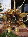リース 玄関 フラワー 造花 母の日ガーデニング ガーデン 雑貨 アンティーク約Φ18cm D5cm【花遊び】『ゴールドミニリース』