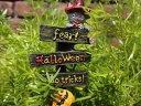 ハロウィン かぼちゃ パンプキン オーナメントガーデニング ガーデン アンティーク【花遊び】『グレーキャットウッドサインピック』