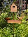 ガーデン ガーデニング 雑貨 バード ハウス フェンスアイアン ミニフェンス 柵 アンティーク【花遊び】『バードハウス・ガーデンピック』