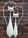 ガーデニング ガーデン 猫 雑貨 アイアン【花遊び】『ウォールデコ!ホワイトキャット・ランデブー』【1月下旬のお届け予定です】