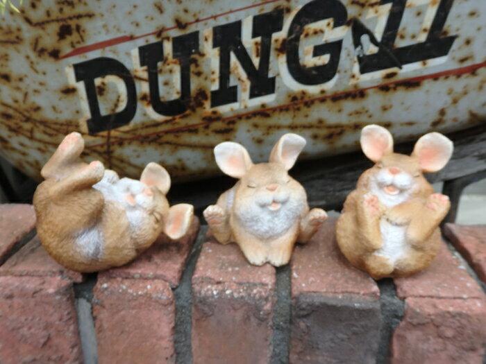 ガーデニング雑貨ガーデンウサギ置物樹脂アニマル動物雑貨花遊びフレンドラビット3