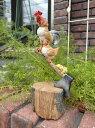 にわとり ひよこ 置物 樹脂 アニマル 動物雑貨 ガーデニング ガーデン【花遊び】『チキン!切り株』