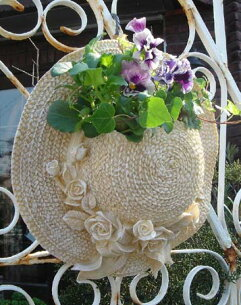 ガーデニング ガーデン 麦わら帽子 スタンド ハンギング プランター アンティーク ストローハット