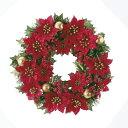 【造花】アスカ/ポインセチアリース /AX68630-0【02】《花 資材 クリスマス資材特集 リース・スワッグ 完成品リース》
