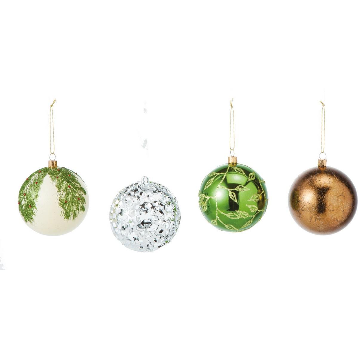 YDM/80mmネイチャーボール 4個入/COA-808【01】【取寄】《 店舗ディスプレイ クリスマス飾り ボールオーナメント 》