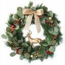 彩か/Ribbon Wreath -Pineneedle with Reindeer L/CGX-R04L【01】【取寄】