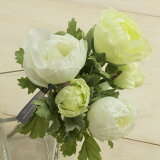即日★【造花】ラナンキュラスブッシュ グリーンホワイト/FB2307-G/W【00】《 造花 ラナンキュラス》