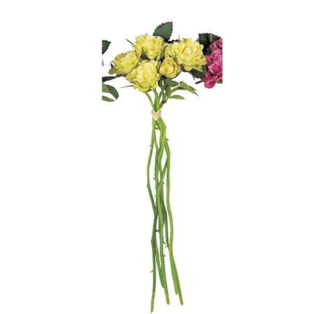 即日★【造花】アスカ/ローズバンチ×5(1束6本) イエローグリーン/A-31865-10G《 造花(アーティフィシャルフラワー) 造花 花材「は行」 バラ 》