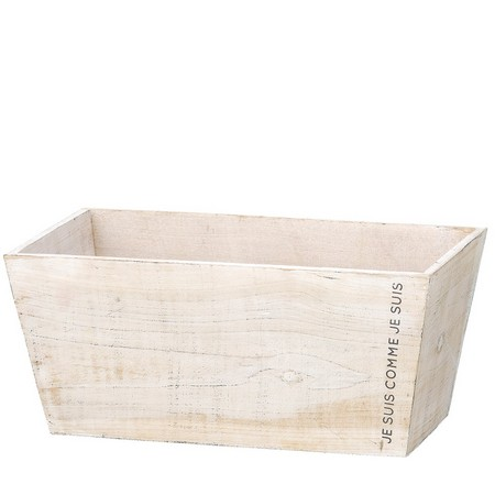 GREENHOUSE/ナチュラルウッドプランター ワイドスクエアL ホワイト/3489-A-W【01】【01】【取寄】《 花器、リース 花器・花瓶 木製花器 》