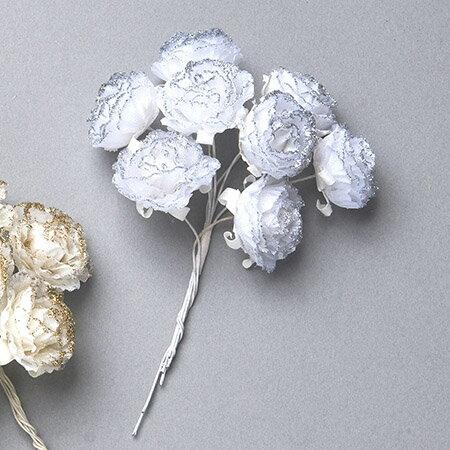 即日 【造花】ミレニアムアート/シルバーローズ シルバー 8個/AFC19-93《 造花(アーティフィシャルフラワー) 造花 花材「は行」 バラ 》