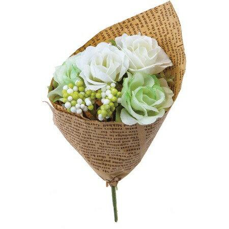 大特価◎【造花】YDM/フィンガーローズブーケ グリーンホワイト/FBC8041-G/W|造花 バラ【01】【01】【取寄】《 造花(アーティフィシャルフラワー) 造花 花材「は行」 バラ 》