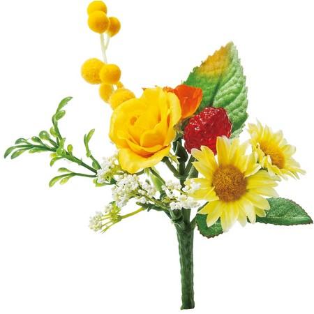 【造花】YDM/ミニローズミックスブッシュ イエローオレンジ/FB2360-YOR【01】【取寄】《 造花(アーティフィシャルフラワー) 造花 花材「は行」 バラ 》