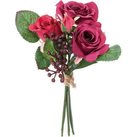 即日★【造花】YDM/ローズミックスバンチ レッド/FB2423-R|造花 バラ【00】《 造花(アーティフィシャルフラワー) 造花 花材「は行」 バラ 》