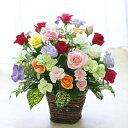 バラ15本と季節の花のフラワーアレンジメント(アレンジメントフラワー) 誕生日に薔薇をプレゼント【ハロウィン いい夫婦の日 誕生日 発表会 記念日 お祝い 出産祝い 新築祝い 送別会 お見舞い】