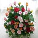 バラ30本と季節の花のフラワーアレンジメント(アレンジメントフラワー) 誕生日に薔薇をプレゼント【ハロウィン いい夫婦の日 誕生日 発表会 記念日 お祝い 出産祝い 新築祝い 送別会 お見舞い】