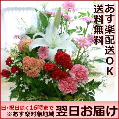 【送料無料 あす楽対応】ボリュームアップ 季節の花 フラワーアレンジメント すえひろ/即日…...:hanakikyo:10000460